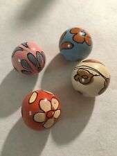 4 Vintage Hand-Painted Wood Wooden Beads Boho Macrame Flowers 24mm Round large