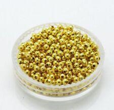 DIY 100 cuentas bolas espaciadoras oro 2mm --agujero 1mm fornituras / abalorios