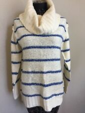 Urban Outfitters BDG Turtleneck Sweater Blue Striped Medium Chunky Knit Women's