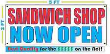 Sandwich Shop Now Open Banner Sign New 2x5