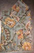 "Pottery Barn Vanessa 2 Blue Standard Shams Floral Linen Blend 19.5"" x 25.5"""