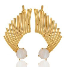 Rainbow Moonstone Birthstone Jewelry, Gold Vermeil 925 Silver Ear Cuff Jewelry
