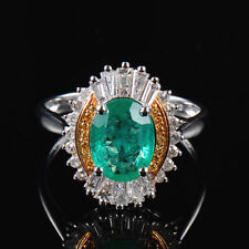 18ct White Gold Stunning Vintage Style Natural Emerald & Diamond Ring VS