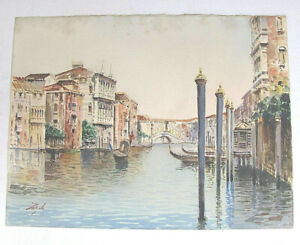 "Antique watercolor and pencil drawing ""Grand Canal and the Rialto Bridge"" Signed"