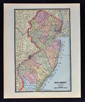 1891 Cram Map - New Jersey - Trenton Newark Princeton Atlantic City NY City NYC