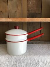 Vintage Enamelware Red and White Double Boiler Pot with Lid Knob Handle