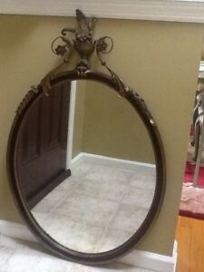 Antique Art Deco Oval Mirror Black With Gold Patina Accents