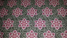 (11,32€/m²) Hilco Hilde Baumwollstoff braun-rosa-rot 0,50m x1,50m