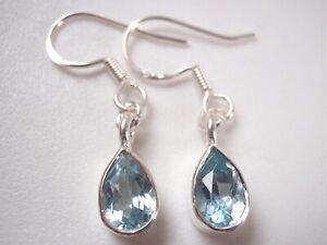 Blue Topaz Very Small Faceted Teardrop 925 Sterling Silver Earrings