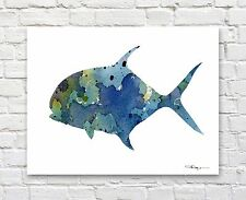 "Permit Fish Abstract Watercolor 11"" x 14"" Art Print by Artist DJ Rogers"