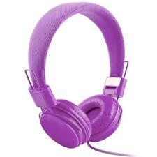 Adjustable Foldable Kid Wired Headband Earphone Headphones With Mic Stereo Bass Purple
