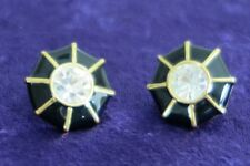 ST. JOHN Gold Tone with Black Enamel & Crystal Clip Earrings