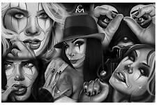 Medina Flash by Charlie Medina Tattoo Art Print Clown Face Sexy Woman