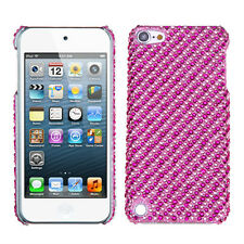 for iPod Touch 5th / 6th Gen Pink Polka Dot Stripe Hard Diamond Bling Case Cover