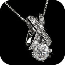 18k white gold plated simulated diamond pendant wedding party necklace luxury