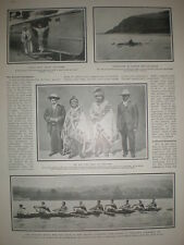 Printed photo Harvard University coxed eight rowing team 1906
