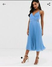 Asos Design Pleated Midi Dress With Cami Straps and Belt Size 8
