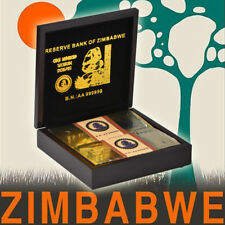 WR 100PCS Zimbabwe 100 Trillion Dollars Color Gold Banknote Sealed In Wooden Box