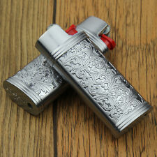 2PCS silver floral pattern mini J5 model BIC lighters case without lighters,DF6