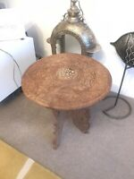 Vintage Anglo Indian Hand Carved Wooden Folding Side Table With Inlaid Top