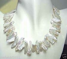 """White Biwa Freshwater Cultured  baroque Pearl Necklace 18"""" silver Clasp"""