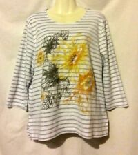 WOMEN'S ALFRED DUNNER EMBELLISHED SEQUINS BEADS STRIPED FLORAL 3/4 SLEEVE TOP L