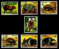 WWF, ENDANGERED FAUNA OF PARAGUAY NICE SET OF 7 STAMPS, YEAR 1988, CTO