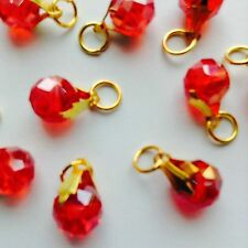 10 Pcs Red AB Crystal Gold P Jewelry Making Charms fit Chain Bracelet & Necklace
