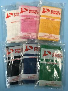 Pro Feet Wristbands Sweatbands Poly/Cotton Assorted Colors 2/Pkg One Size NIP