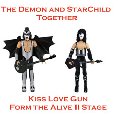 KISS Demon & StarChild Love Gun Action Figures Toys Collectable Alive II Stage