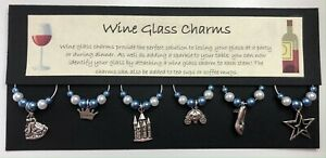 Cinderella Themed Wine Glass Charms - Blue & White