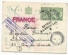 Great Britain Scott #159 H&G #46b Post Card Guernsey Cancel to France Returned