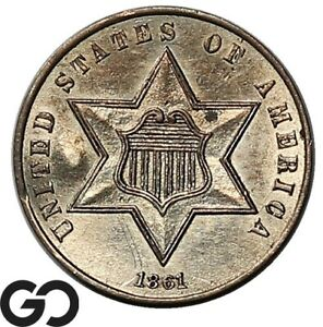 1861 Three Cent Silver, Super Sharp Strike