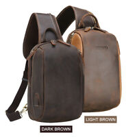 Men Leather Sling Bag Backpack Chest Pack Cross Body Bag Backpack Shoulder Bag