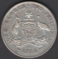 1922  AUSTRALIAN TWO SHILLING (FLORIN) COIN - aVF CONDITION