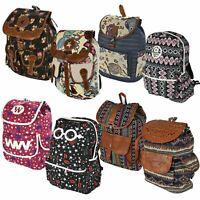 Boys Girls Retro Laptop Travel Work School Bag Gray Backpack Rucksack