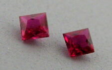 3.4mm MATCHING PAIR PRINCESS CUT LOOSE NATURAL PIGEON BLOOD RED RUBY