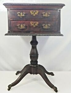 Antique Mahogany 2-Drawer Federal Style Side / End Table. Brass Claw Feet. 1850