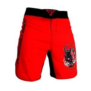 ZENKO FIGHTWEAR Oni Demon Grappling Shorts MMA BJJ Kids & Adult Fight Shorts Red