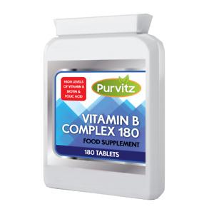 Vitamin B Complex 180 Tablets B1,B2,B3,B5,B6,B12,Biotin,Folic Acid Purvitz UK