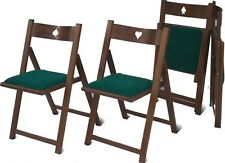 4 Sedie per tavolo da gioco pieghevole in legno faggio massiccio col.noce