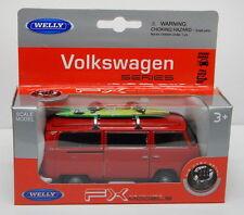 Welly - 1972 VW Volkswagen T2 BUS - (Red w/ Surfboard) - Model Scale 1/39