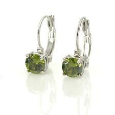 round Green Olive Class Retro Qd3 latch back earrings Silver Small czech