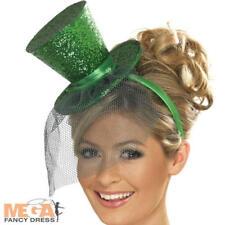 Green Mini Top Hat Halloween Leprechaun Ladies Fancy Dress Costume Accessory