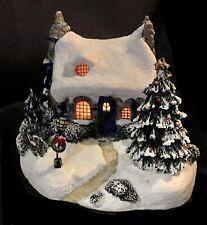 Vintage Thomas Kinkade Christmas Village Cozy Cottage- Stonehearth Hutch