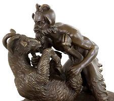 Pan and the Goat - Erotische Bronze - Faun mit Ziege - Künstlerfigur sign. Milo