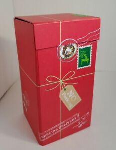 "BATH & BODY WORKS Red Holiday Square Box (empty) w/Flip Top Lid  - 9"" H x 4.5"" W"