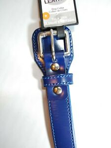"""Petmate Pet Dog Collar Products Puppy Leather 18"""" x 1""""  Lapis Blue   NEW"""