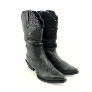 Nocona Boots Style NL 1500 Competitor Slouch Western Cowgirl Boho Black Leather