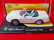 ALFA ROMEO SPIDER~1989~OPEN TOP~WHITE~NEW RAY 1.43 SCALE DIE-CAST # 48579 *USED*